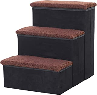 """PawHut 3 Step Foldable Pet Stairs for Small Dogs, Suede Fleece, 16"""" L x 20"""" H - Black"""