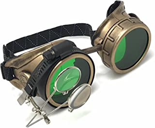 Victorian Goggles Glasses Antique gold green lens with Double Clip on eye Loupe