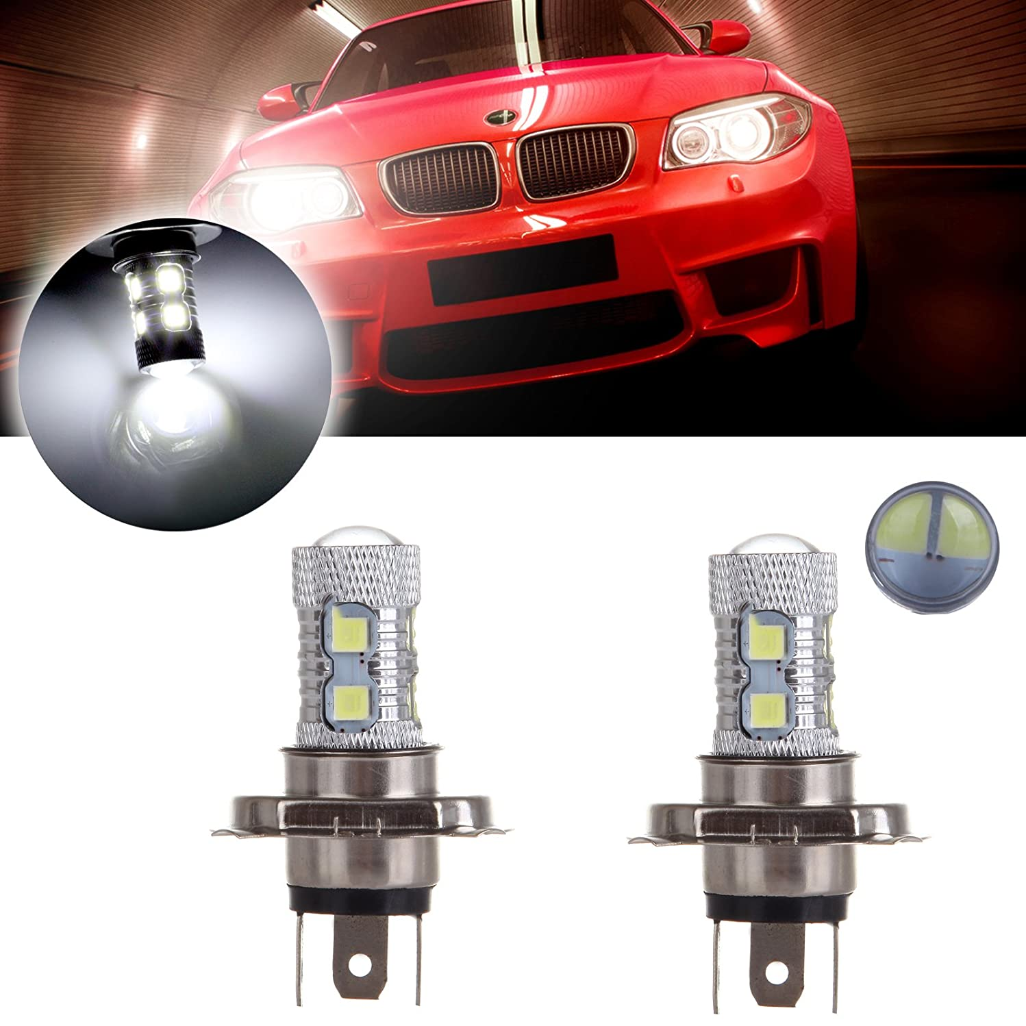 cciyu 2Pack 12V Hight Power 8SMD H4 9003 HB2 CREE LED Hight Low Beam Headlight Driving Fog Lamp Bulb with Projector