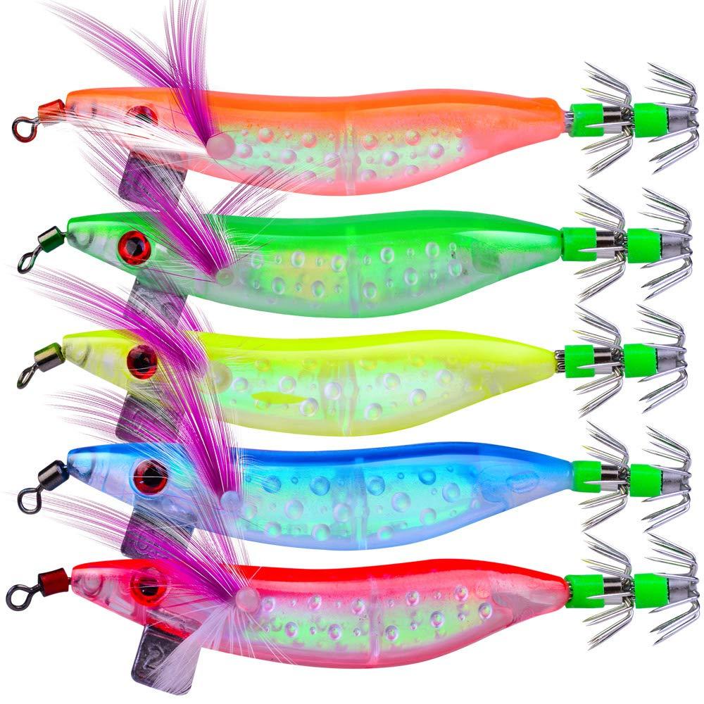 OriGlam 5 señuelos luminosos de pesca de agua salada, cebos suaves ...