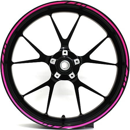 Felgenrandaufkleber Gp Design 16 Teilig Komplett Set Finest Folia Passend Für 17 Zoll 16 18 19 Felgen Motorrad Auto Fahrrad Mr001 Neon Pink Auto