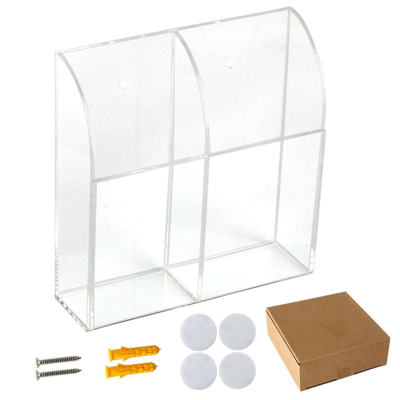 Discoball Acrílico Soporte remoto Aire acondicionado TV Organizador remoto Caja de almacenamiento Montaje en pared Organizador Estuche (dos compartimentos): Amazon.es: Hogar