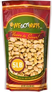 Peanuts Dry Roasted Unsalted, Blanched , 5 Pound Bulk Bag - We Got Nuts,