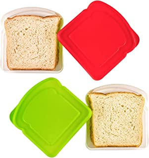 DecorRack 2 Sandwich Containers -BPA FREE- Plastic Sandwich Box for Kids, Food Storage Container for Lunch and Snacks, Assorted Bright Colors (2 Pack)