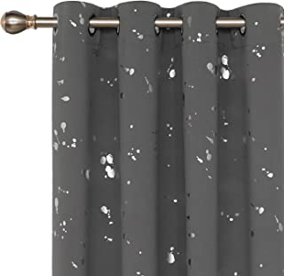 Deconovo Silver Dots Printed Thermal Insulated Blackout Grommet Curtains Light Grey Blackout Curtains for Bedroom 52 W x 63 L Light Grey 2 Panels