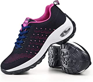 Womens Walking Shoes Lace-up Sneakers - Flyknit Mesh Breathable Air Cushion Workout Work Rocking Platform Sneakers