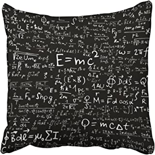 Emvency 18X18 Inch Throw Pillow Cover Polyester White Einstein Blackboard With Physical Equations And Formulas Black Physics Theory Math Cushion Decorative Pillowcase Square Two Side Print For Home