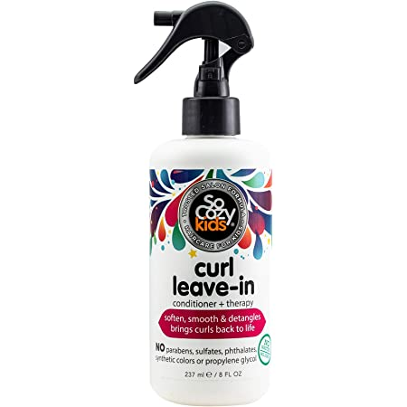 SoCozy, Curl Spray LeaveIn Conditioner For Kids Hair Detangles and Restores Curls No Parabens Sulfates Synthetic Colors or Dyes, Jojoba Oil,Olive Oil & Vitamin B5, Sweet-Pea, 8 Fl Oz