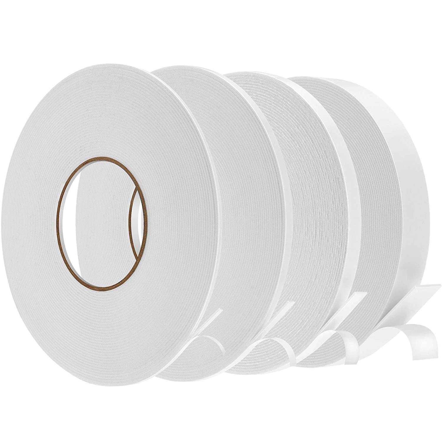 4 Rolls Double Sided Regular store White Tape Foam Adhesive Year-end gift PE