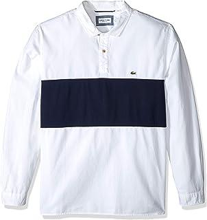 Lacoste Men's L/S Large Stripe Oxford No Button Collar Reg Fit Woven