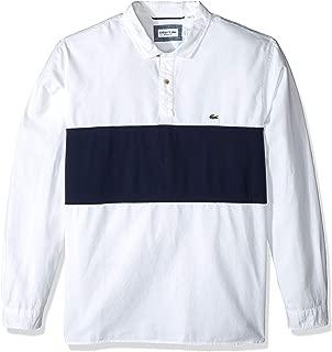 Men's L/S Large Stripe Oxford No Button Collar Reg Fit Woven