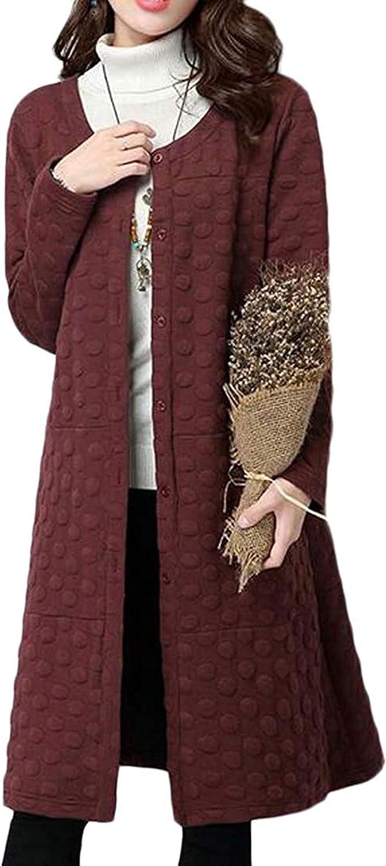 Women's Winter Thicken Cotton Linen Mid Length Overcoat Trench Coat Quilted Jacket