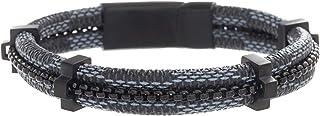 "Steve Madden Men's 8"" Blue Braided Leather and Black Box Chain Bracelet in Black IP Plated Stainless Steel, Black, 8"