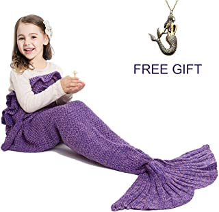 JR.WHITE Mermaid Tail Blanket for Kids Adult,Hand Crochet Snuggle Mermaid,All Seasons Seatail Sleeping Bag Blanket (Purple)