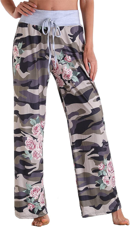 Rubysam 2021 Spring Women's Palazzo Pants Print Wide Leg Casual Pants Comfy Elastic Waist Drawstring Pajama Pants