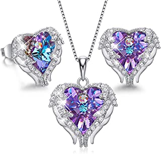 Angel Wing Heart Necklaces and Earrings Christmas Jewelry Gifts Embellished with Crystals from Swarovski 18K White Gold Plated Jewelry Set for Women