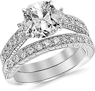 14K White Gold Sterling Silver Lab Diamond Trio Bridal Wedding Ring Band Set