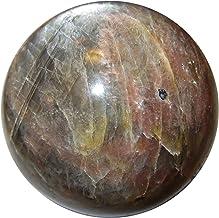 Satin Crystals Moonstone Black Sphere Crystal Healing Ball Psychic Intuitive Lunar God & Goddess Stone- Madagascar Collect...