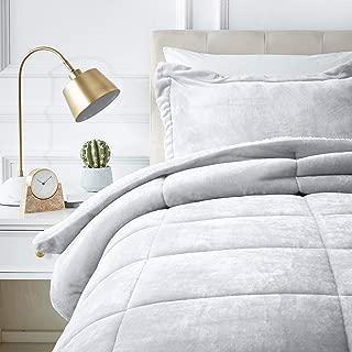 AmazonBasics Ultra-Soft Micromink Sherpa Comforter Bed Set - Twin, Grey