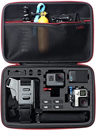 Large Carrying Case for GoPro Hero(2018),Hero 7 Black,HERO6,5,4,+LCD, Black, Silver, 3+, 3, 2 and Accessories by HSU with Fully Customizable Interior Carry Handle and Carabiner Loop