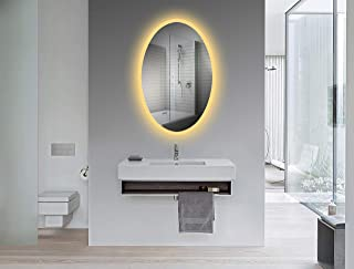 Yukon Oval Wall Mounted Backlit LED Bathroom Mirror, Dual Colored LED Cool White/Warm, Dimmable LED with Infrared Touchless Control, UL Tested Copper Free Silver Mirror, 24 x 36 Inch