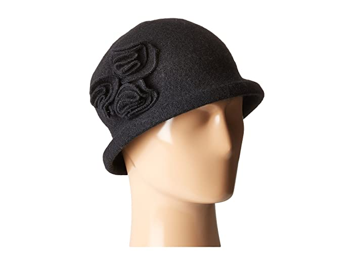 Women's Vintage Hats | Old Fashioned Hats | Retro Hats San Diego Hat Company CTH8088 Soft Knit Cloche with Side Flower Black Knit Hats $28.80 AT vintagedancer.com