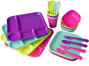 Your Zone Plastic Dinnerware Set of 4-24 Piece Kids Dinnerware Set Includes, Kids Cups, Kids Plates, Kids Bowls, Flatware ...