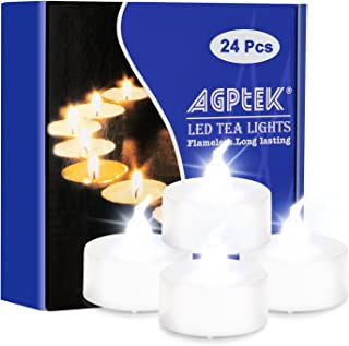 AGPtek Lot 24 Battery Operated LED Cool White Tea Light Candle Flickering Flashing For Wedding Party Festival Decoration O...