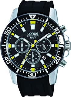 Hand Watch for Men by Lorus, Analog, Chronograph, Rubber, Black, RT361DX9