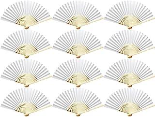 Woohome 12 Pz Ventilador de Papel de Bambú Plegable Mano Ventilador para Decoraciones de Bodas, Fiestas, Bailes, DIY (Blanco)