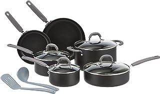 Amazon Basics Hard Anodized Non-Stick 12-Piece Cookware Set, Grey - Pots, Pans and Utensils