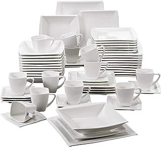 MALACASA, Série Blance, 60pcs Services de Table Complets Porcelaine, 12pcs Assiettes Plates, 12 Assiettes Creuse, 12 Assie...