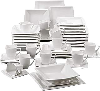 MALACASA, serie Blance, 60 PCS Vajillas de Porcelana