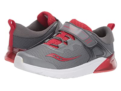 Saucony Kids Flash Glow A/C (Little Kid) (Grey/Red) Boys Shoes
