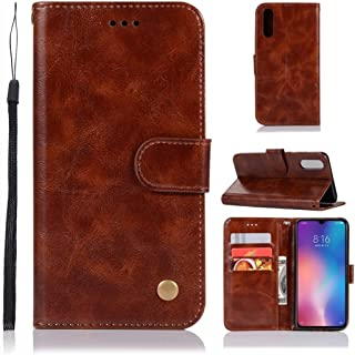 For Xiaomi Mi 9 Retro Copper Button Crazy Horse Horizontal Flip PU Leather Case with Holder & Card Slots & Wallet & Lanyard New (Wine Red) Lipangp (Color : Brown)