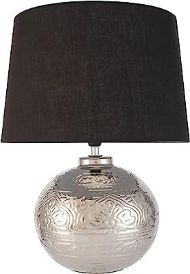 Pauleen 48222 Poser Touch of Silver Max. 20Watt Faite à la Main Noir, Argent Lampe de Chevet de Look Glamour en Tissu, céramique E14, Table