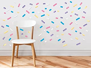 Sprinkles Fabric Wall Decals - Mini Bar Stickers, Confetti Decor, 110 Sprinkles in 5 Colors, Kids Room Decoration, Minipops Wall Decorations