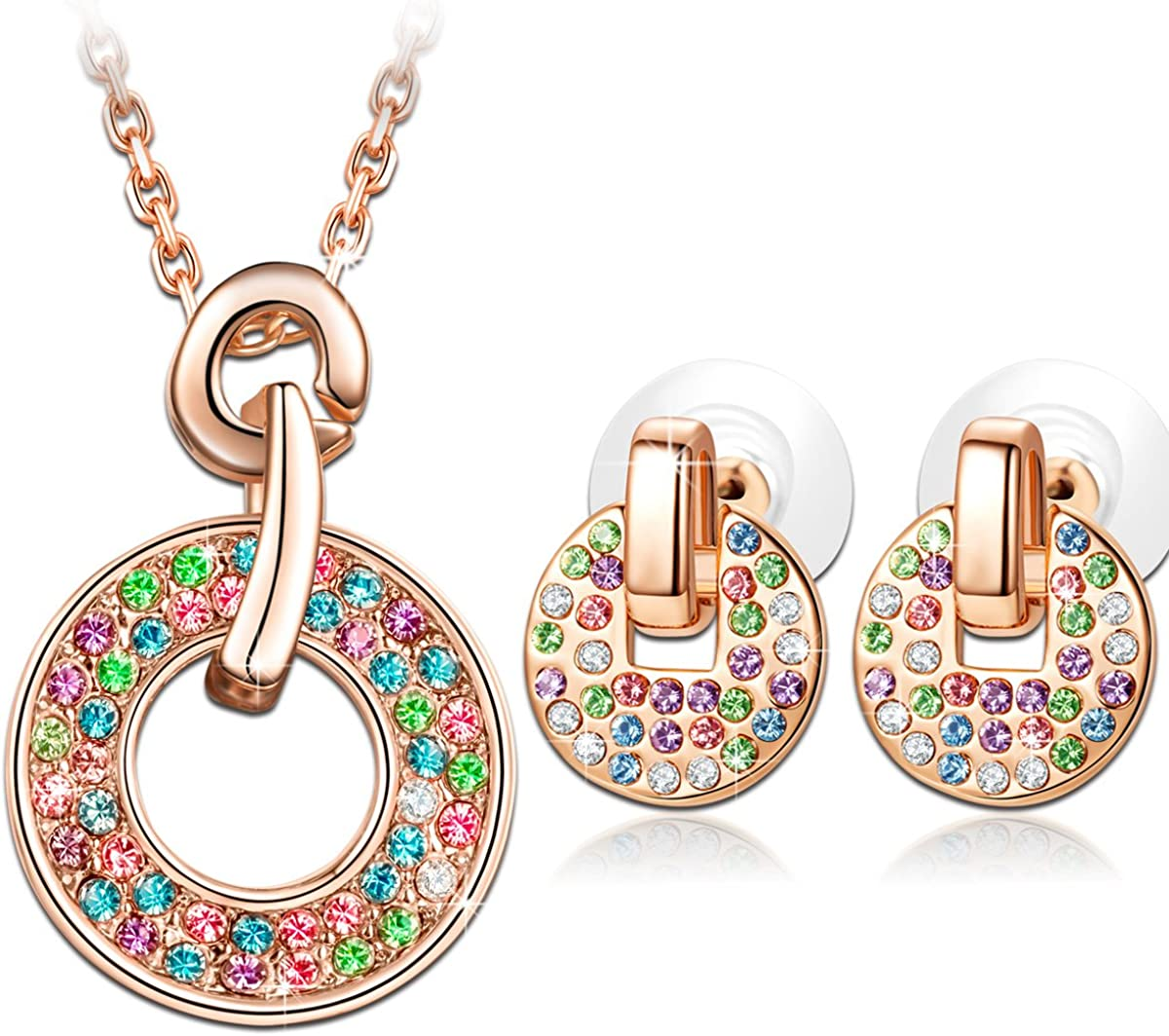 LADY COLOUR Jewelry Gifts for Mom, Multicolored Rose Gold Plated Necklace Stud Earrings Jewelry Set, Crystal Jewelry Gift BoxPacking, Anniversary Birthday Gifts for Her