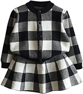 Tonsee 女の子服 ガールズ 上下セット 可愛い チェック柄 長袖 ニットコート+スカート 2点セット フォーマル