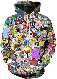 MHOTCIG Unisex 3D Printed Hoodies Casual Pouch Pocket Drawstring Hoodied Sweatshirt