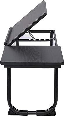 MEUBLE COSY Table de lit Support d'ordinateur portable pliable hauteur réglable Plateau finition chêne Piètement métal noir , noir /65x30x27.5 cm