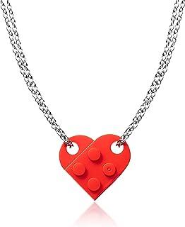 A1dieeBrick Heart Necklace Kit- Red Building Block Pendant Necklaces for Friendship Couples Women Men Girls Boys, Detacha...