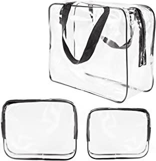 3Pcs Crystal Clear PVC Travel Toiletry Bag Kit for Men Women, Waterproof Vinyl Packing Organiser Storage Bag with Zipper Closure and Handle Straps, Cosmetic Pouch, Nappy Bag, Handbag Pencil Bag Black