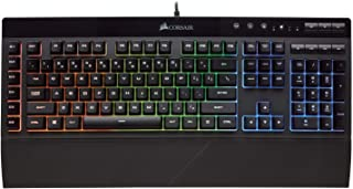 CORSAIR K55 RGB Gaming Keyboard - Quiet & Satisfying LED Backlit Keys - Media Controls - Wrist Rest Included - Onboard Macro Recording