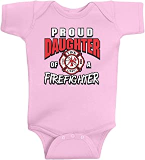 Threadrock Baby Girls' Proud Daughter of a Firefighter Infant Bodysuit