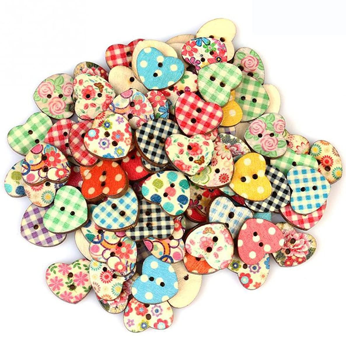 WINGONEER 200pcs Multicolored Heart Shaped Wooden Buttons Sewing Craft Scrapbooking