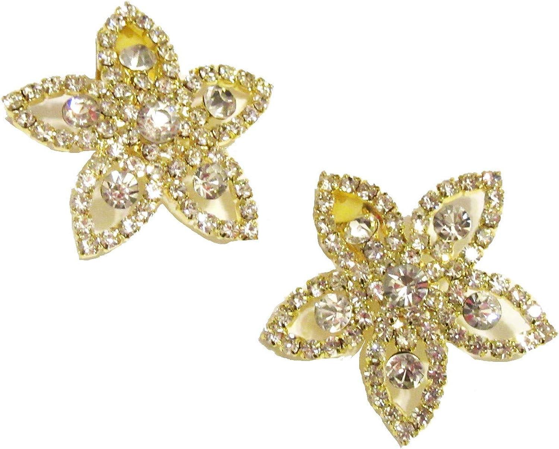 FLOWER Clip On Earrings For Women   Rhinestone Statement Big Non Pierced Earrings