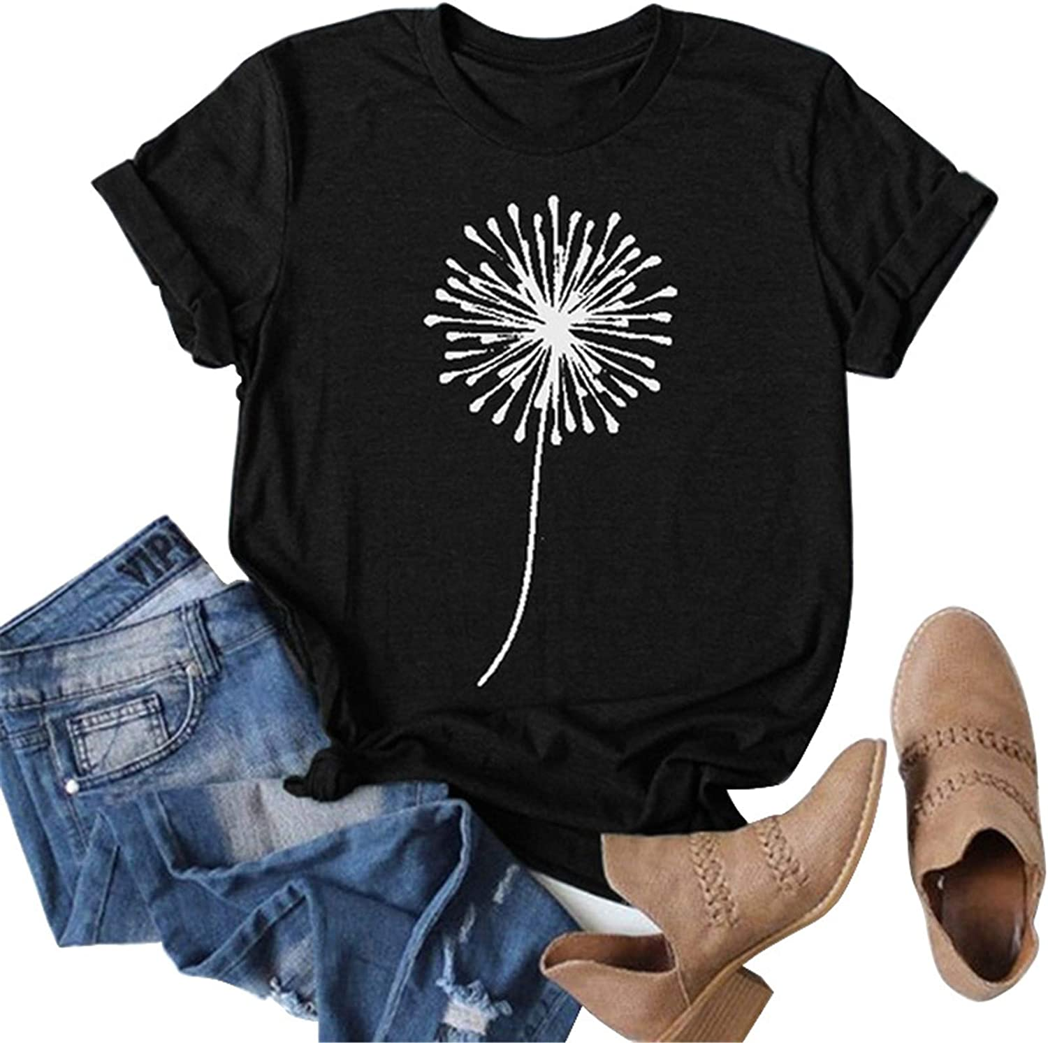 HAM Summer Tops for Women Casual Womens Sunflower T-Shirts Cute Graphic Tee Shirts Printed Funny Tee Shirts Tunic Top