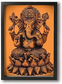ホワイトサン フォトフレーム A4 フレーム ヒンドゥー教の神ガネーシャ 枠付き 壁絵 飾り絵 ポスター アートフレーム パネル