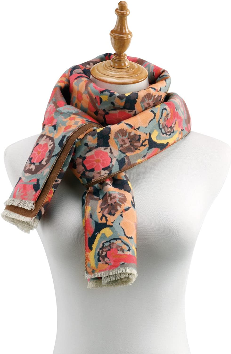 Brown Floral Women's One Size Poly Blend TwoSided Rectangle Fashion Scarf
